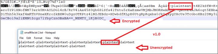 Figure 7. Discrepancy in Nemty 1.0's encryption