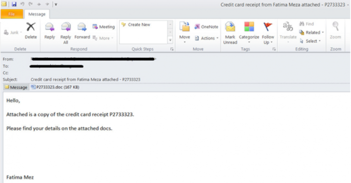 Figure 3. Emotet spam with Office document attached