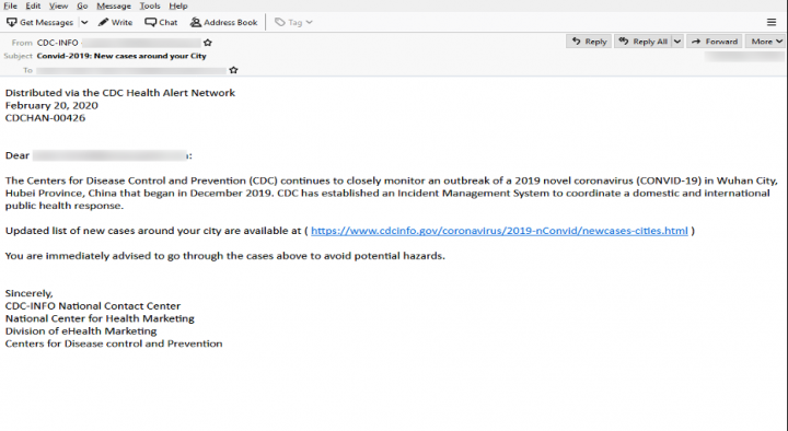 Figure 5. Phishing email purporting to come from the U.S. Centers for Disease Control and Prevention (CDC)