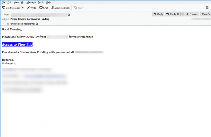 Figure 7. Phishing email disguised as funding proposal