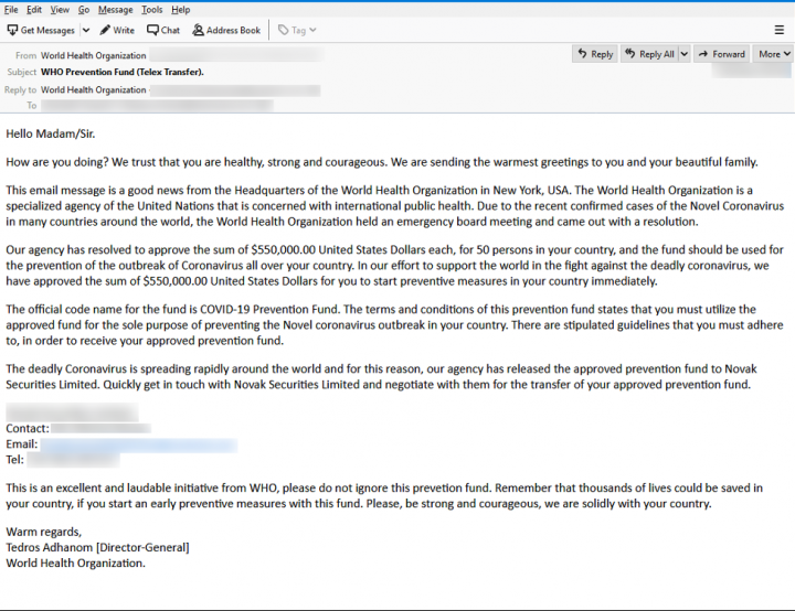 Figure 8. Scam email pretending to come from the World Health Organization (WHO)