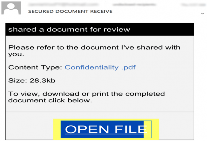 Figure 2. Phishing email disguised as a notification message regarding a confidential document
