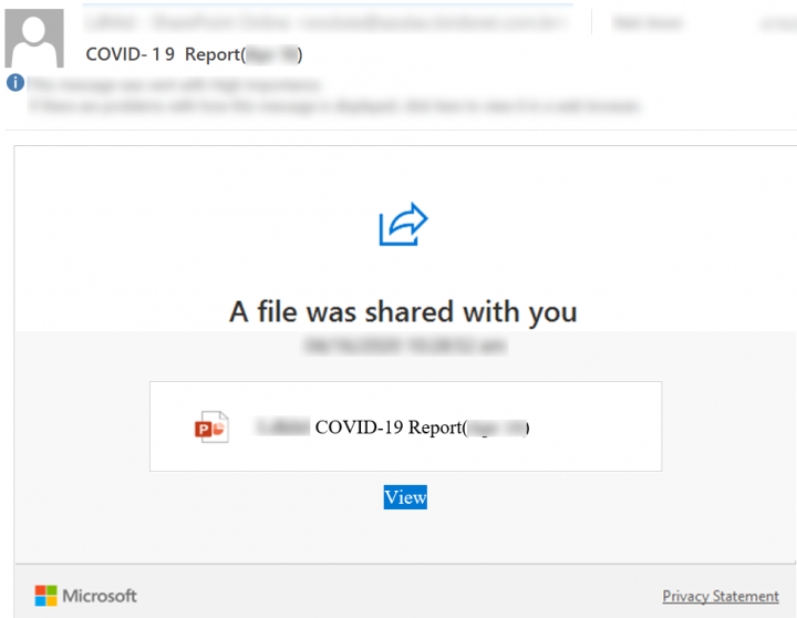 Figure 4. Phishing email disguised as a COVID-19 funding report notification