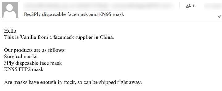 Figure 6. Spam email supposedly from a supplier in China offering different types of face masks