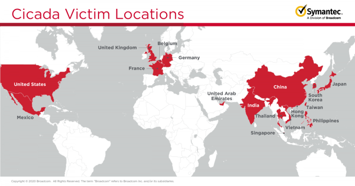 Figure 1. Locations of some of the companies targeted in this campaign; most of those targeted have links to Japan or Japanese organizations