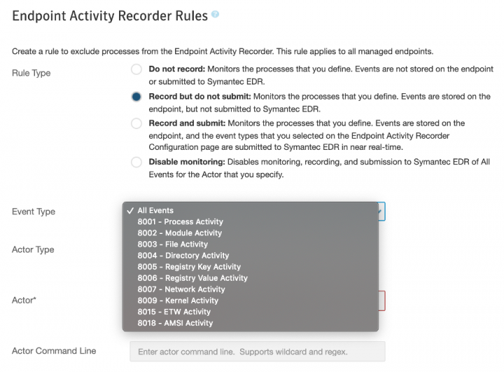 Granular Activity Recorder Rules in Symantec EDR 4.5