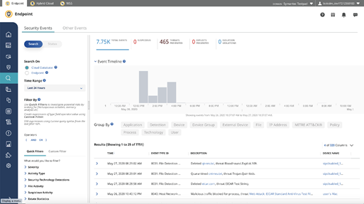 An incident handler sees security events on the Integrated Cyber Defense Manager console