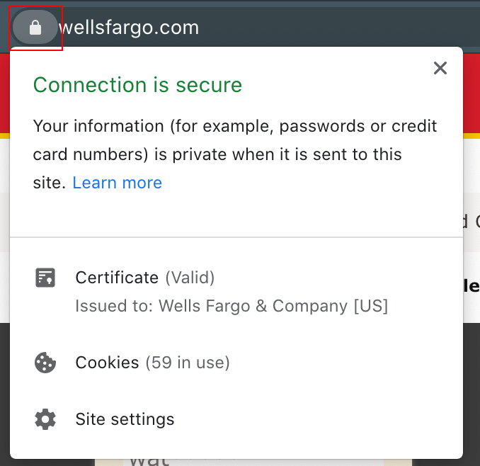 Figure 1. Lock icon and connection security information displayed in web browser