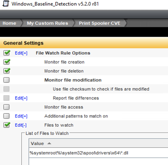 Fig 2: Custom DCS Filewatch Detection rule for PrintNightmare