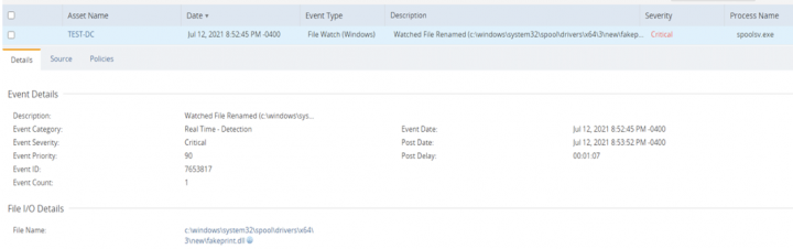 Fig 3: DCS Filewatch Detection real time event for PrintNightmare
