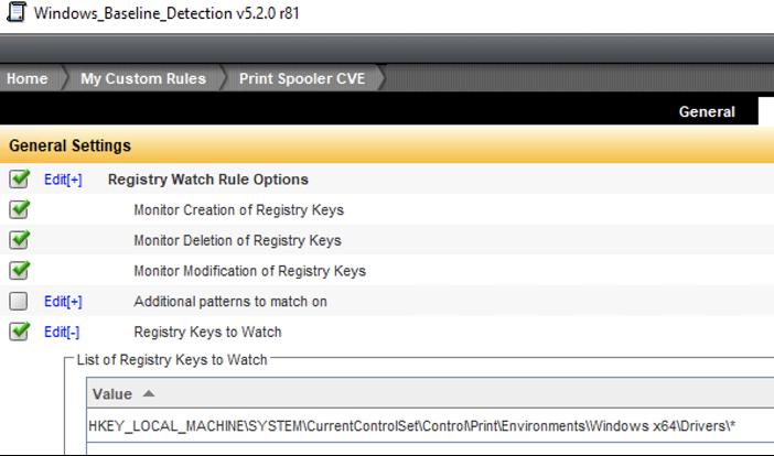 Fig 4: Custom DCS Registry Watch Detection rule for PrintNightmare